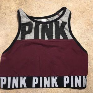 PINK- Victoria Secret-Sports Bra-Maroon/Blk/Gray-S
